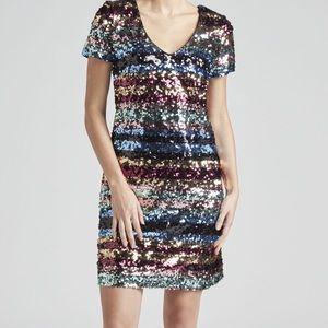 New Gorgeous eci Rainbow Stripe Sequin Shift Dress